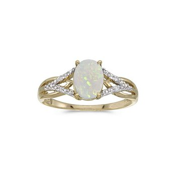 10K Yellow Gold Oval Pearl And Diamond Ring