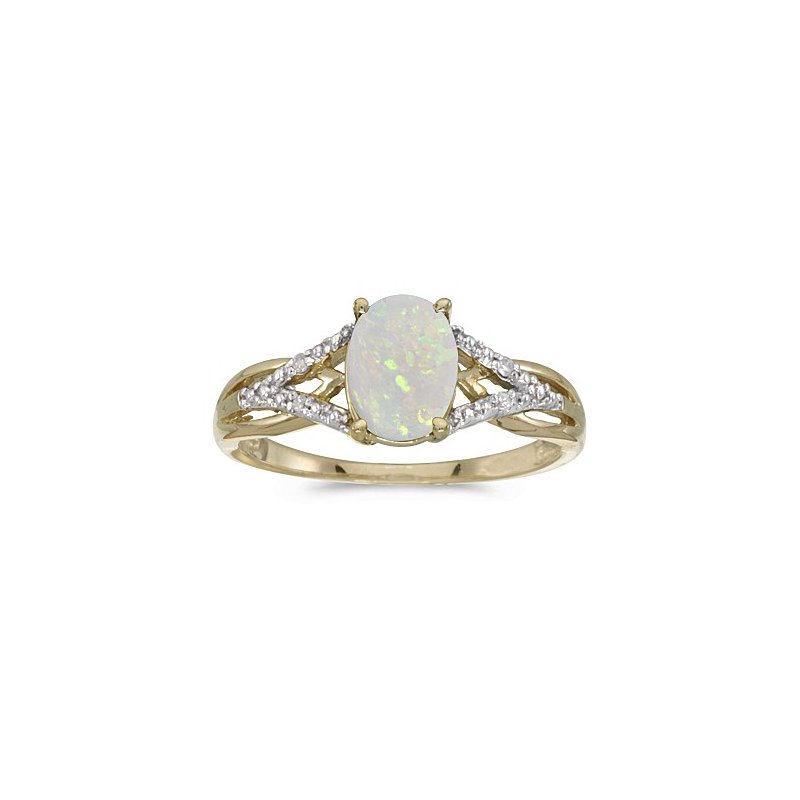 Birthstone Collection 10K Yellow Gold Oval Pearl And Diamond Ring