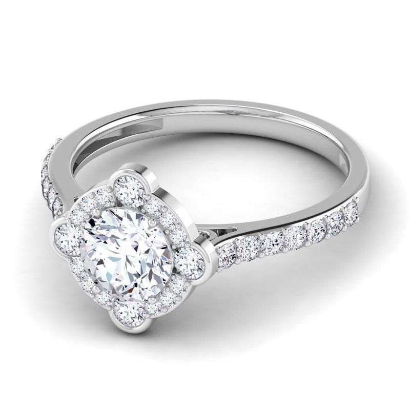 Lab Grown Diamonds Certified Lab 1 1/2ctw Cushion Cut Halo Engagement Ring