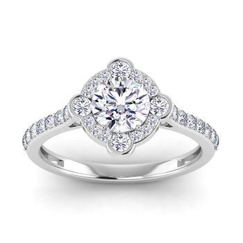 Certified Lab 1 1/2ctw Cushion Cut Halo Engagement Ring