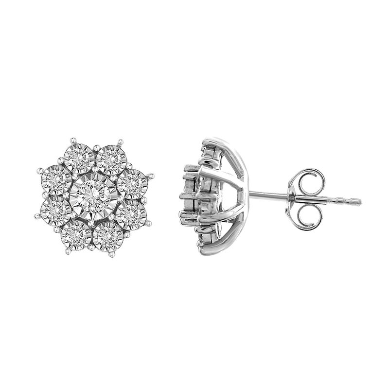 Saslow's & Henebry's Collection .33ct Flower Cluster Earrings