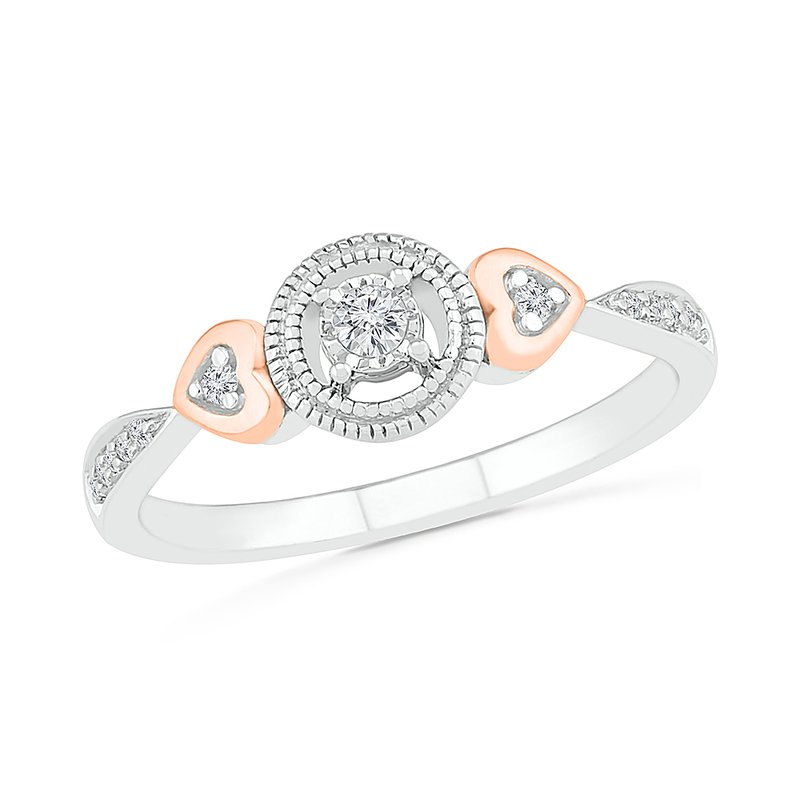 Gifts That Rock .10ctw Round Halo With Hearts Ring
