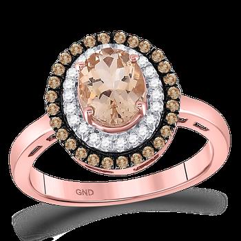 1 1/2ctw Morganite & Diamond Halo Ring