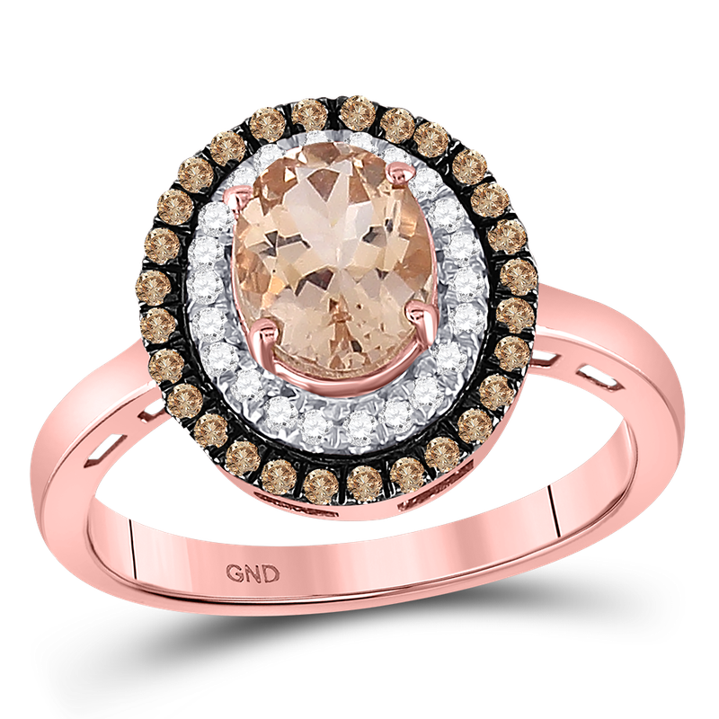 Saslow's & Henebry's Collection 1 1/2ctw Morganite & Diamond Halo Ring