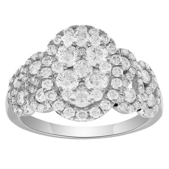 WG 1.5ctw Diamond Oval Cluster Ring