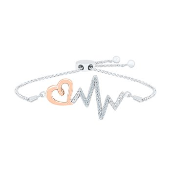 "Rose Gold and Silver ""EKG"" Diamond Bracelet"