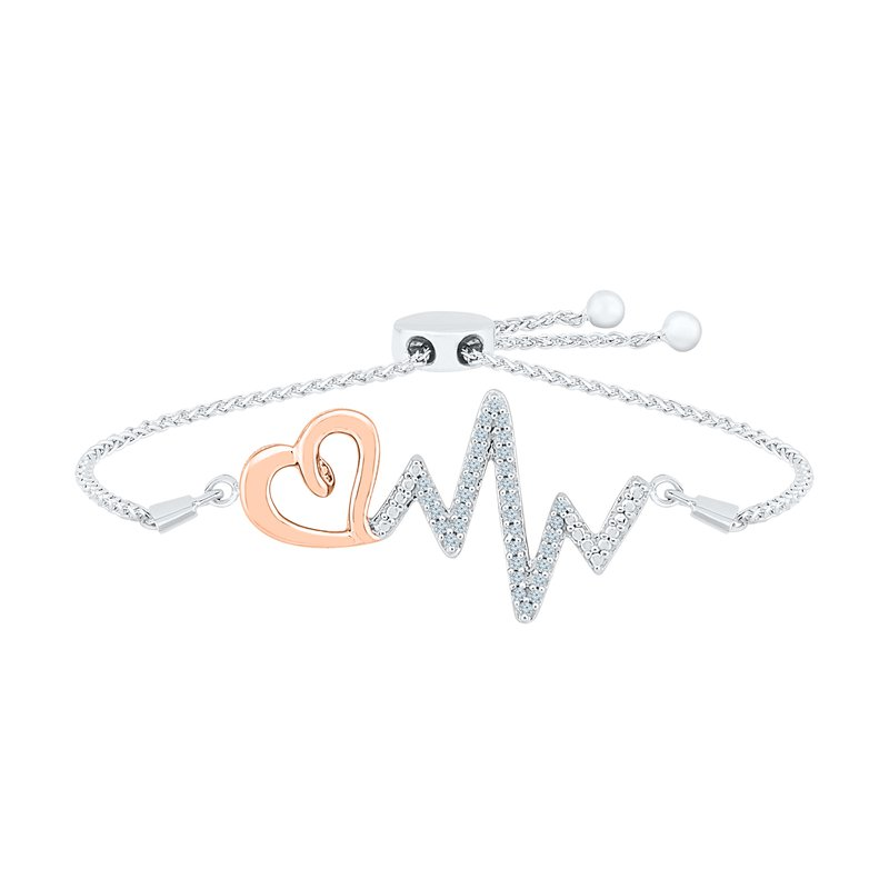 "Gifts That Rock Rose Gold and Silver ""EKG"" Diamond Bracelet"