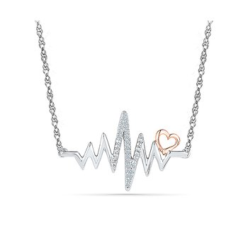 Two Tone EKG Heartbeat Necklace