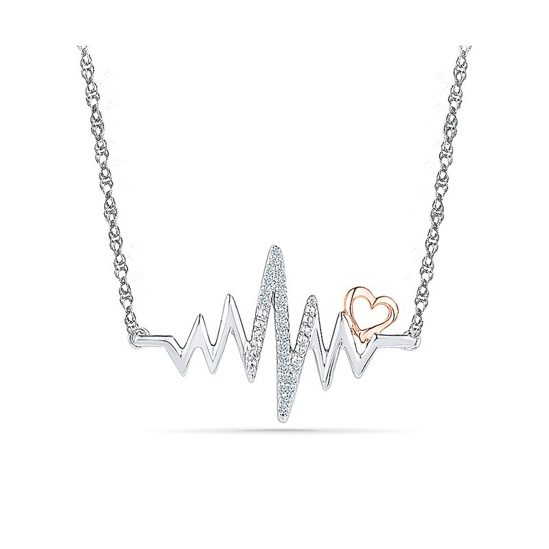 Gifts That Rock Two Tone EKG Heartbeat Necklace