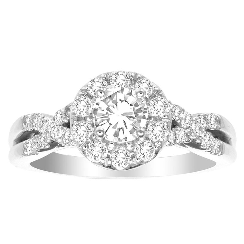 Saslow's & Henebry's Collection Certified 1 Ctw Hearts & Arrows Halo Engagment Ring