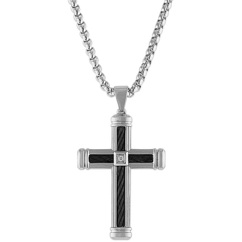 Esquire Men's Jewelry Diamond, Black Cable, and Steel Cross