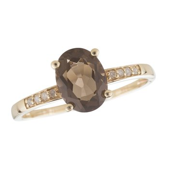 14ky Smoky Quartz / Diamond Yellow Gold Ring