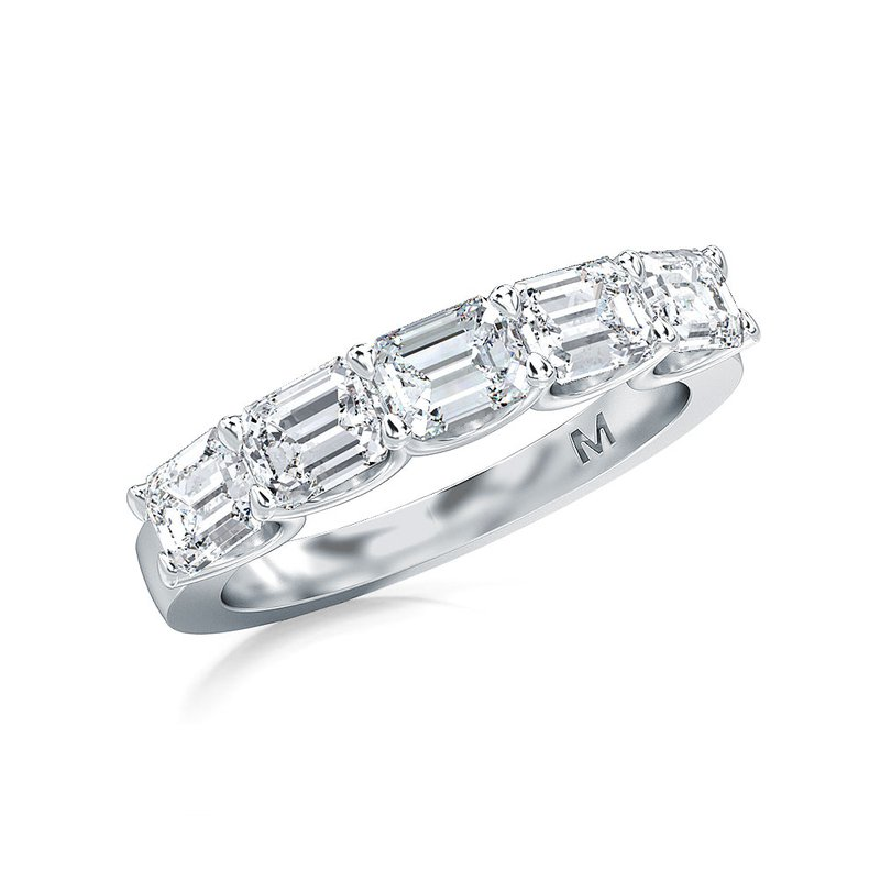 Lab Grown Diamonds Horizontal Set Emerald Cut Lab-Grown Five Stone Band