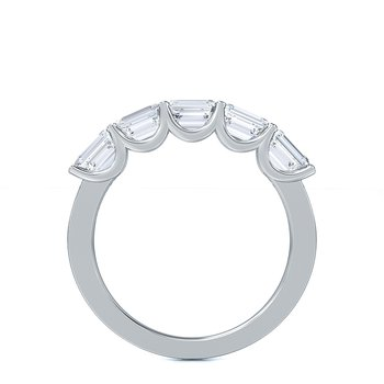 Horizontal Set Emerald Cut Lab-Grown Five Stone Band