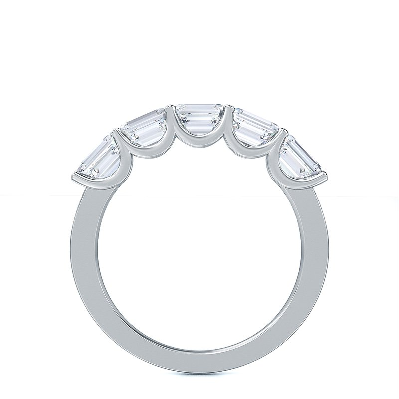 Lab Grown Diamonds Horizontal Set Emerald Cut 3/4ctw Five Stone Diamond Band