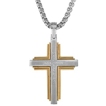 Diamond, Gold, and Steel Cross
