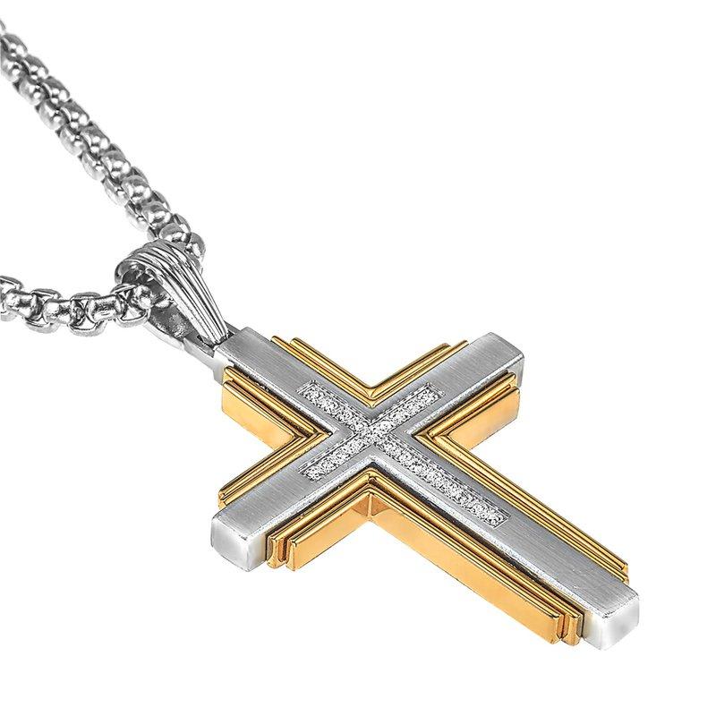 Esquire Men's Jewelry Diamond, Gold, and Steel Cross