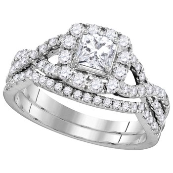 Certified 1ctw Princess Cut Bridal Set