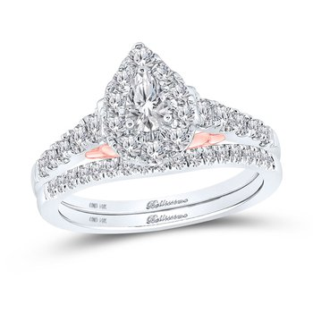 Certified 1ctw Pear Shaped Halo Bridal Set