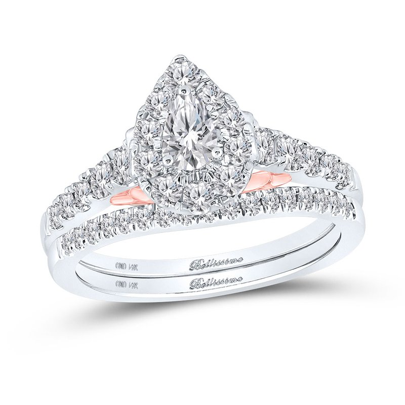 Bellissimo Certified 1ctw Pear Shaped Halo Bridal Set