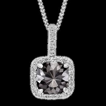 WG 2 3/8ctw Cushion Cut Black Diamond Necklace