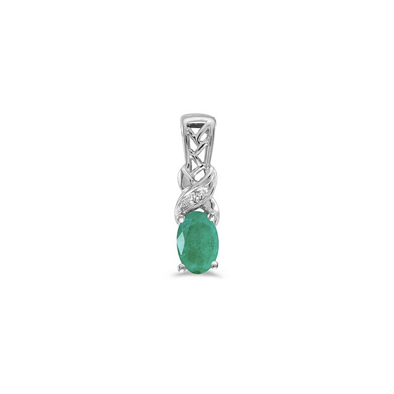 Birthstone Collection 10K White Gold Oval Emerald And Diamond Pendant