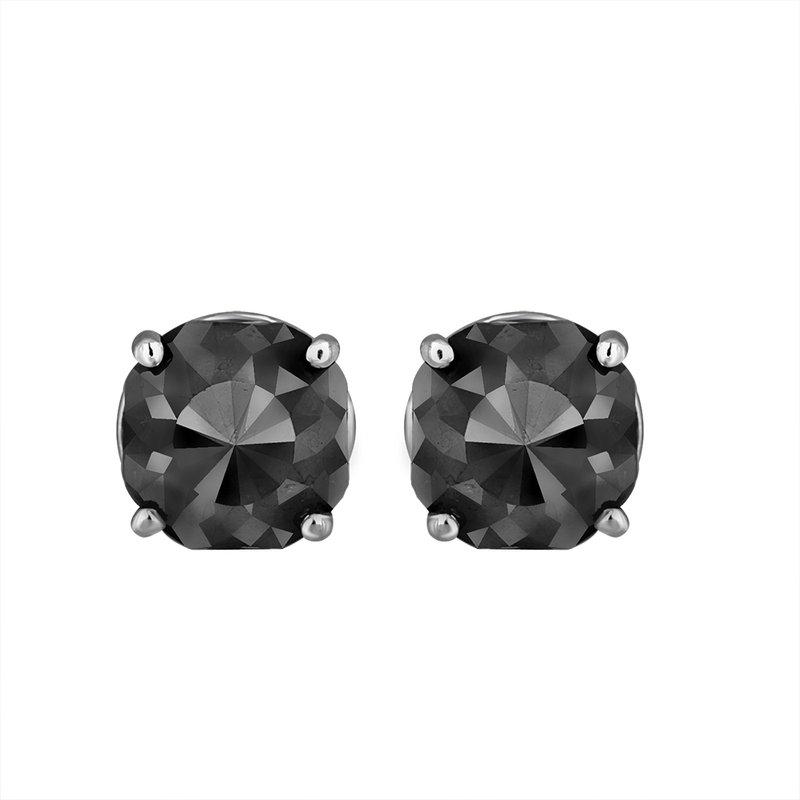 Saslow's & Henebry's Collection  3 ctw Cushion Cut Black Diamond Earrings White Gold