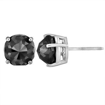3 ctw Cushion Cut Black Diamond Earrings White Gold