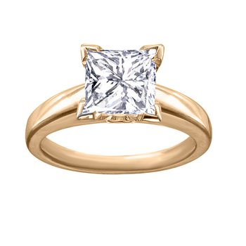 Certified 1 Ct Princess Cut Solitaire Engagement Ring