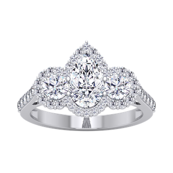 Certified 2ctw 3 Stone Pear Halo Engagement Ring