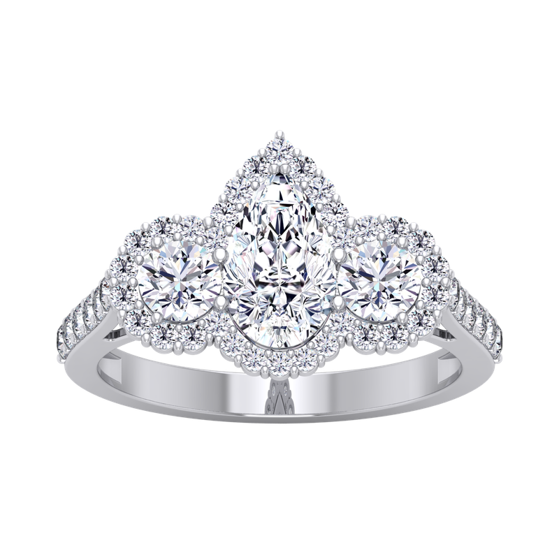 Lab Grown Diamonds Certified 2ctw 3 Stone Pear Halo Engagement Ring