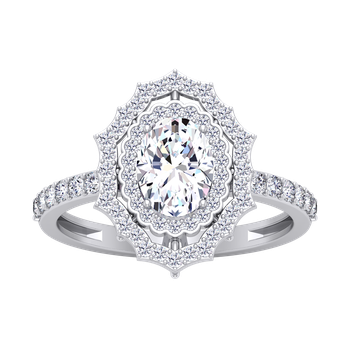 Certified 1 3/8ctw Oval Fancy Double Halo Engagement Ring