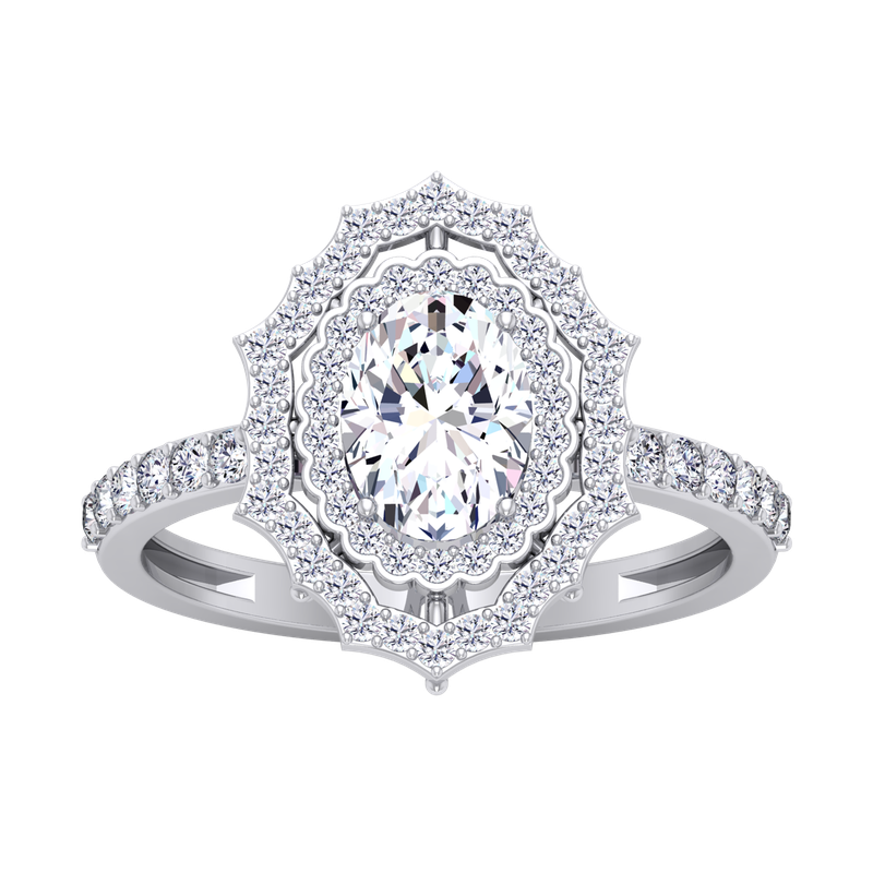 Lab Grown Diamonds Certified 1 3/8ctw Oval Fancy Double Halo Engagement Ring
