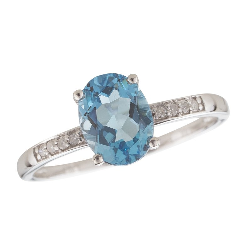 Birthstone Collection 14kw Blue Topaz / Diamond Ring