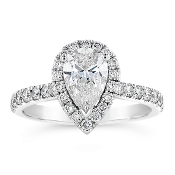 Certified 1.5ctw Pear Shaped Halo Diamond Engagement Ring