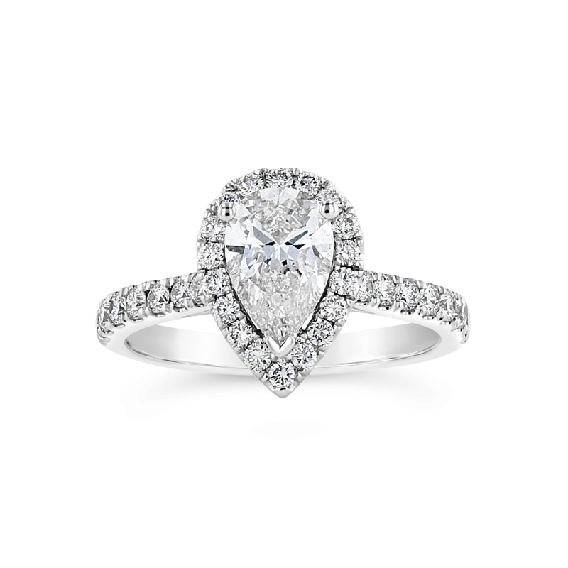 Lab Grown Diamonds Certified 1.5ctw Pear Shaped Halo Diamond Engagement Ring