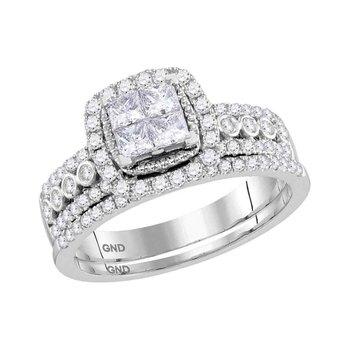 14kt White Gold Womens Princess Diamond Halo Bridal Wedding Engagement Ring Band Set 1.00 Cttw