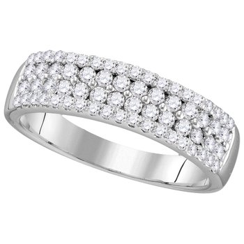 1/2 Ctw White Gold Four Row Diamond Band