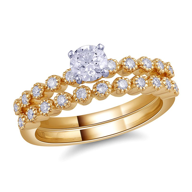Royal Colorless Certified .75ctw Yellow Gold Royal Colorless Bridal Set