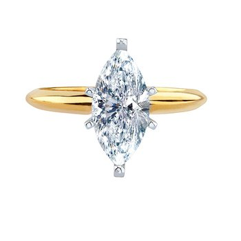 Certified 1/2 Ct Marquise Solitaire Engagement Ring