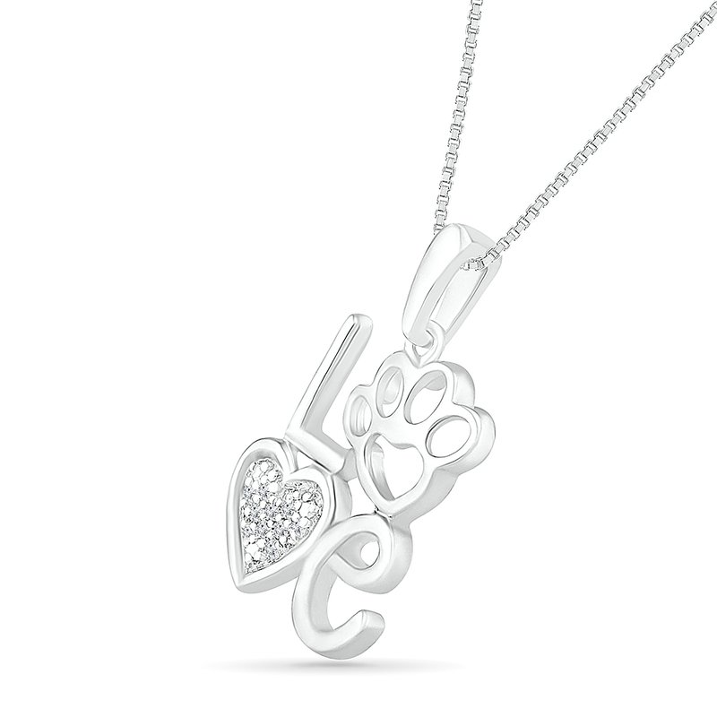 Diamond Love Paw Heart Necklace