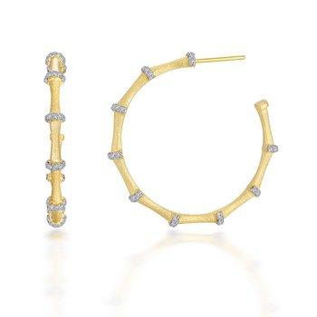 Mixed-Color Bamboo Hoop Earrings
