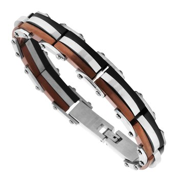 Tri Color Steel Bracelet 8.75""