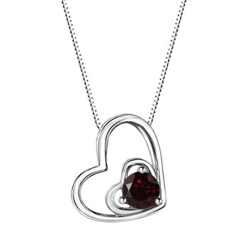 Garnet Double Heart Sterling Silver Pendant