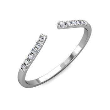 Open Cuff Curved Diamond Ring