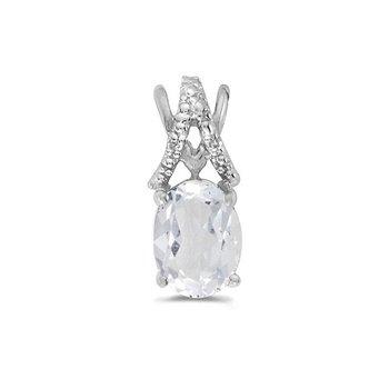 10K White Gold Oval White Topaz And Diamond Pendant