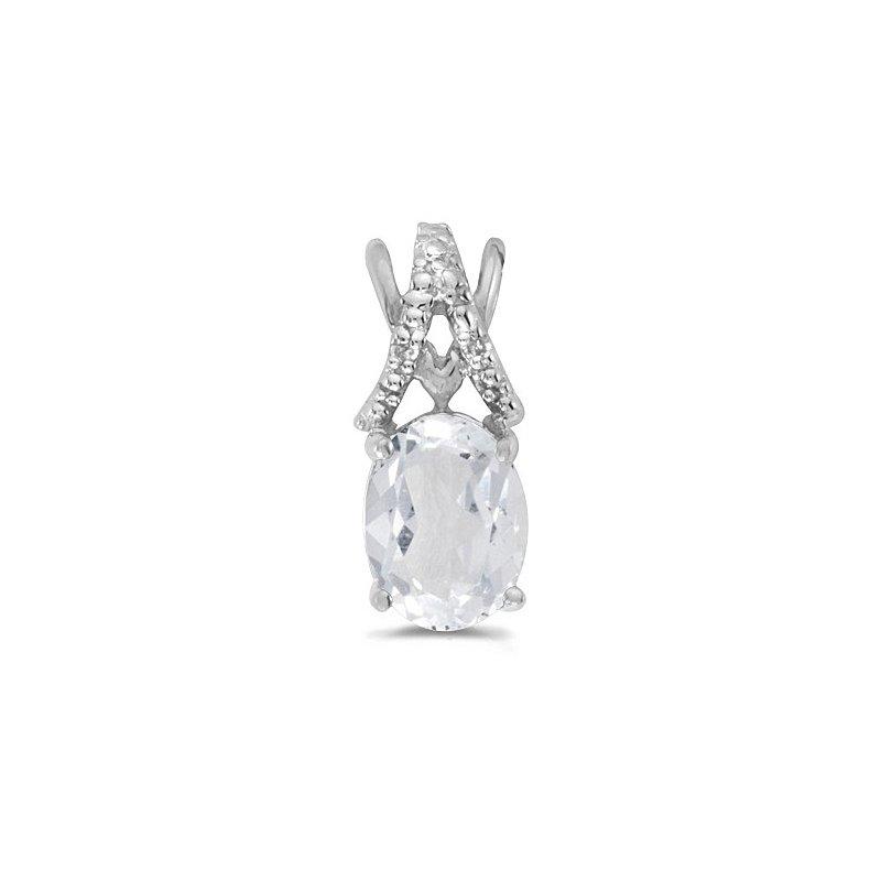Birthstone Collection 10K White Gold Oval White Topaz And Diamond Pendant