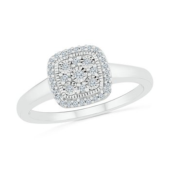.12ctw Square Diamond Cluster Ring