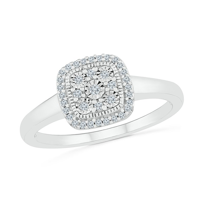 Gifts That Rock .12ctw Square Diamond Cluster Ring