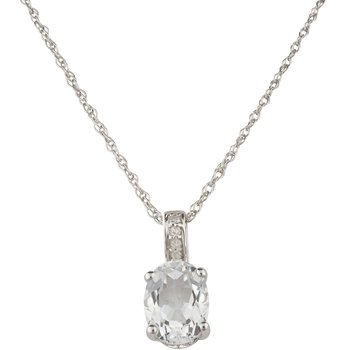 Sale: 14kw White Topaz / Diamond Pendant